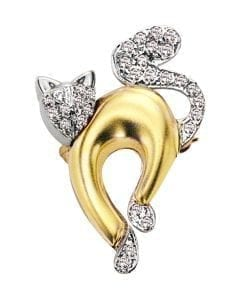 CAT01PAV - The Pets, Cat, 14K Two-Tone Gold Multi-Layer, Diamond G Color SI, Medium